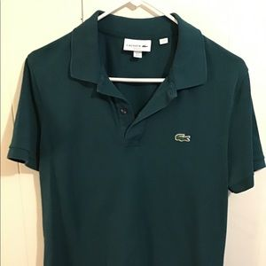 Lacoste slim polo forest green size M (4)
